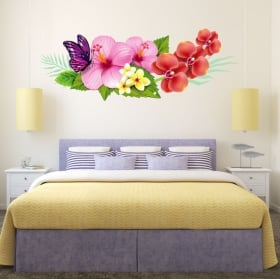 Vinilos para paredes flores y mariposa