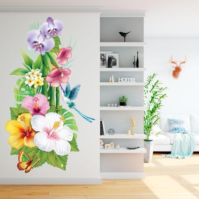 Vinilos para paredes flores colibrí y mariposa