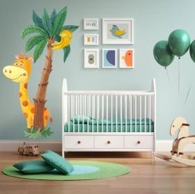 Vinilos infantiles o de bebés jirafa y palmera acuarela