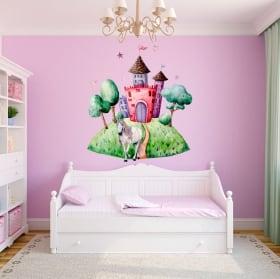 Vinilos infantiles o juveniles unicornio y castillo acuarela