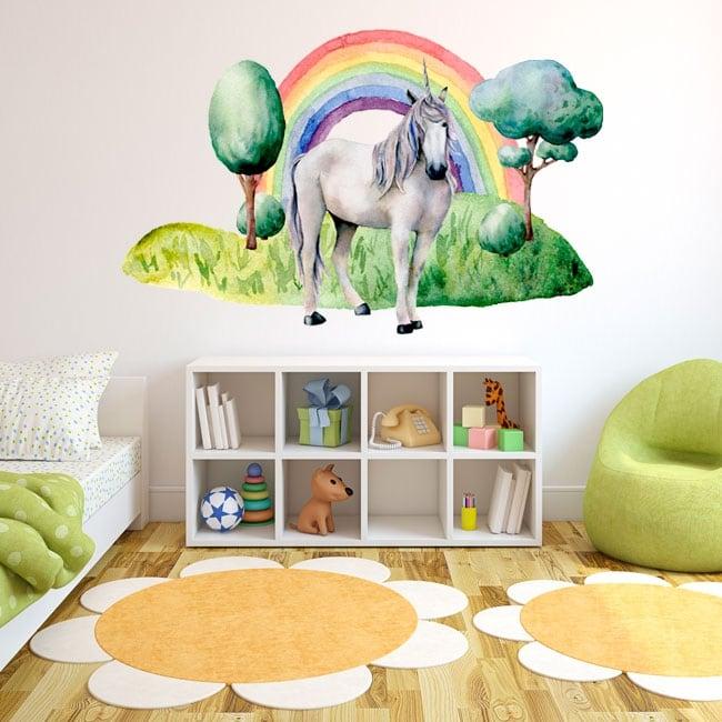 Vinilos infantiles o juveniles unicornio y arcoíris