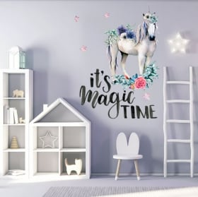 Vinilos decorativos unicornio con frase en inglés