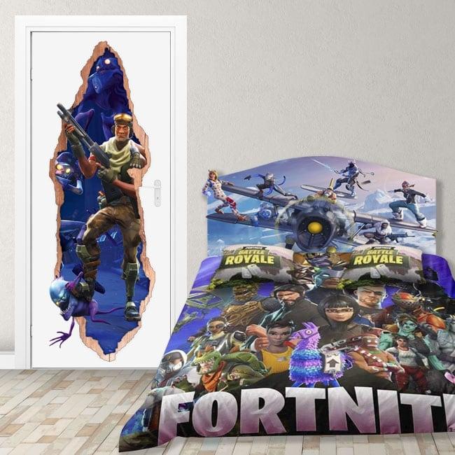 Vinilos para puertas videojuego fortnite 3d