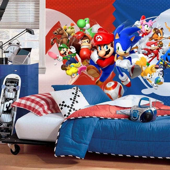Fotomurales videojuego mario bros y sonic juegos olímpicos