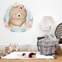 Vinilos infantiles o de bebé oso y pajarito