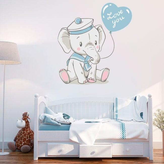 Vinilos infantiles o de bebé elefante con frase love you