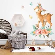 Vinilos bambi con pajarito flores y mariposas en acuarela