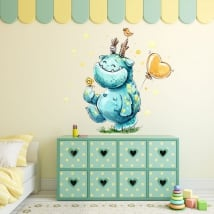 Vinilos infantiles o juveniles monstruo feliz en acuarela