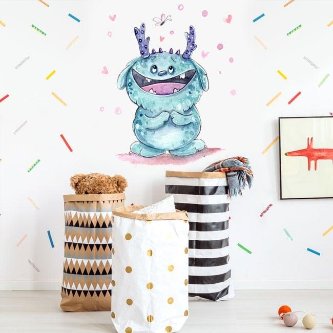 Vinilos decorativos acuarela monstruo y mariposa feliz