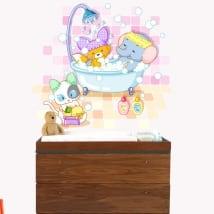 Vinilos infantiles o de bebé animales bañándose