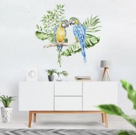 Vinilos para paredes loros o guacamayos en acuarela