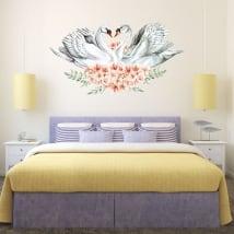 Vinilos decorativos y pegatinas cisnes con flores
