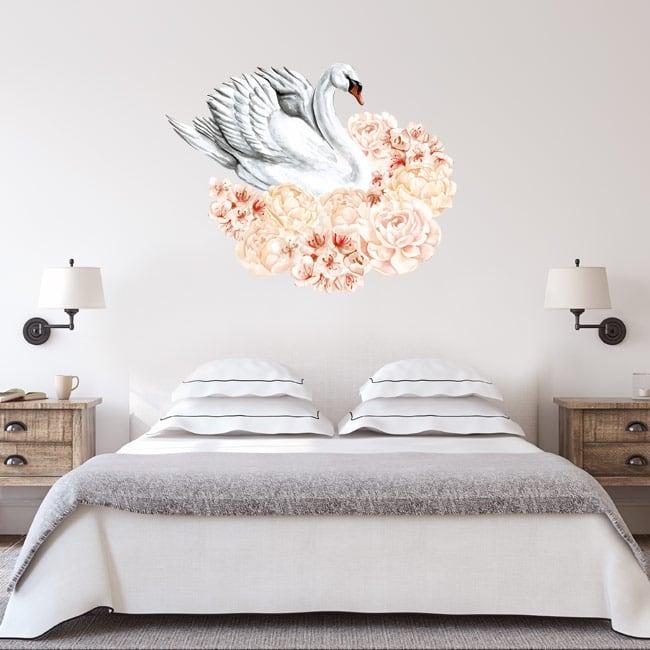 Vinilos y pegatinas cisne con flores