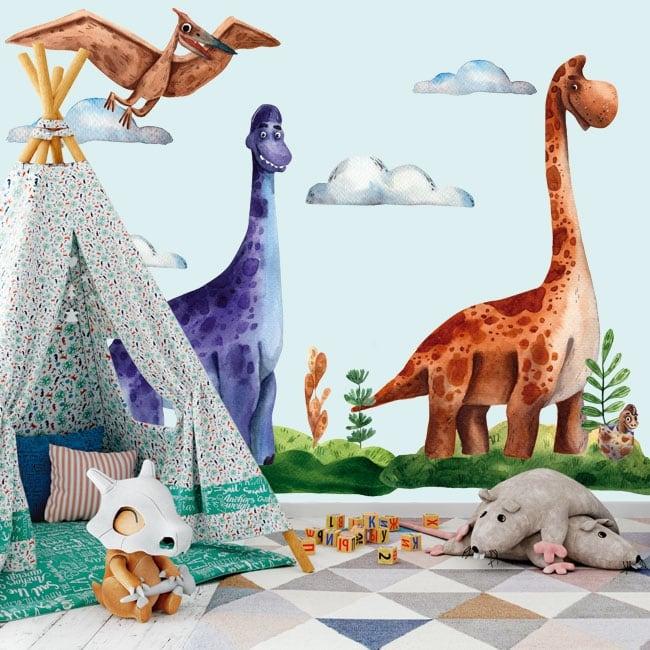 Vinilos y pegatinas infantiles o juveniles dinosaurios acuarela