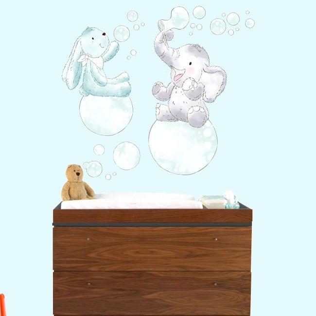 Vinilos infantiles o de bebé animales con pompas de jabón