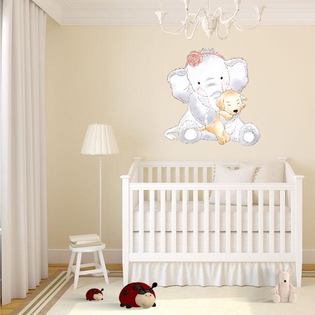 Vinilos infantiles o de bebé elefante con perro