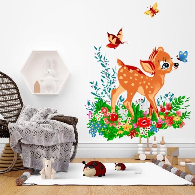 Vinilos y pegatinas infantiles bambi con mariposas