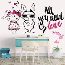 Vinilos y pegatinas conejos frases all you need is love