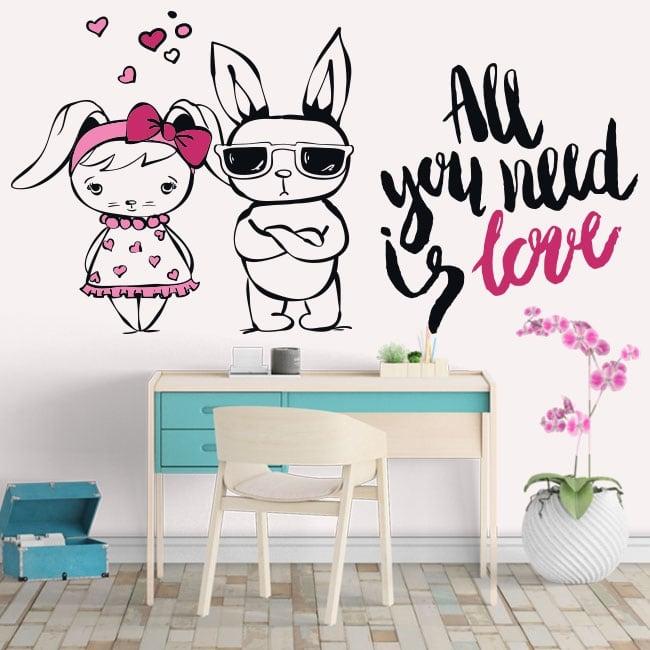 Vinilos y pegatinas conejos frases all you need is love