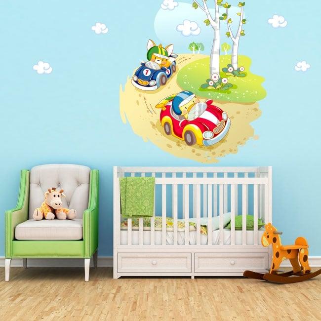 Vinilos y pegatinas infantiles o de bebé carrera de autos
