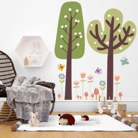 Vinilos de pared árboles con flores y mariposas