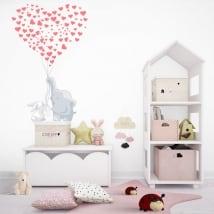 Vinilos decorativos elefante y conejo con corazones