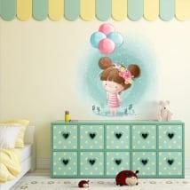 Vinilos decorativos infantiles niña con globos