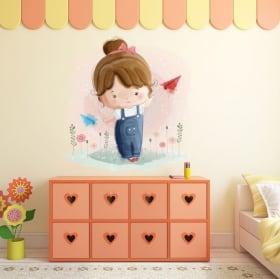 Vinilos infantiles o juveniles niña y aviones de papel
