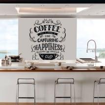 Vinilos y pegatinas cocina frase inglés coffee