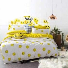 Vinilos cabeceros camas emoji smile emoticón