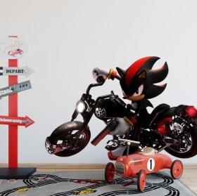 Vinilos y pegatinas videojuego sonic con moto