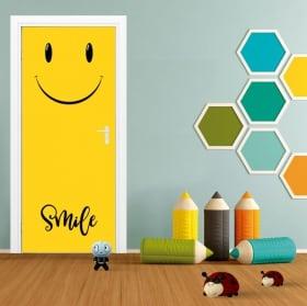 Vinilos para puertas emoticono smile emoji
