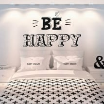 Vinilos decorativos frases en inglés be happy
