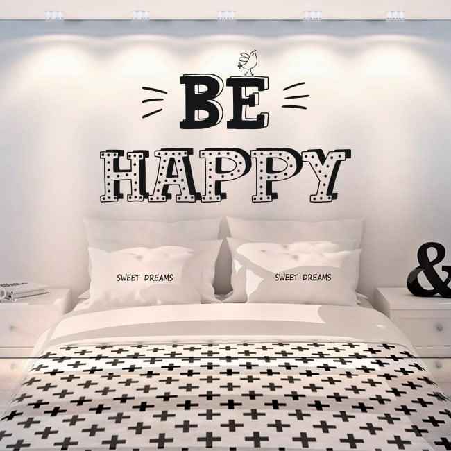Vinilos decorativos frases en inglés be happy