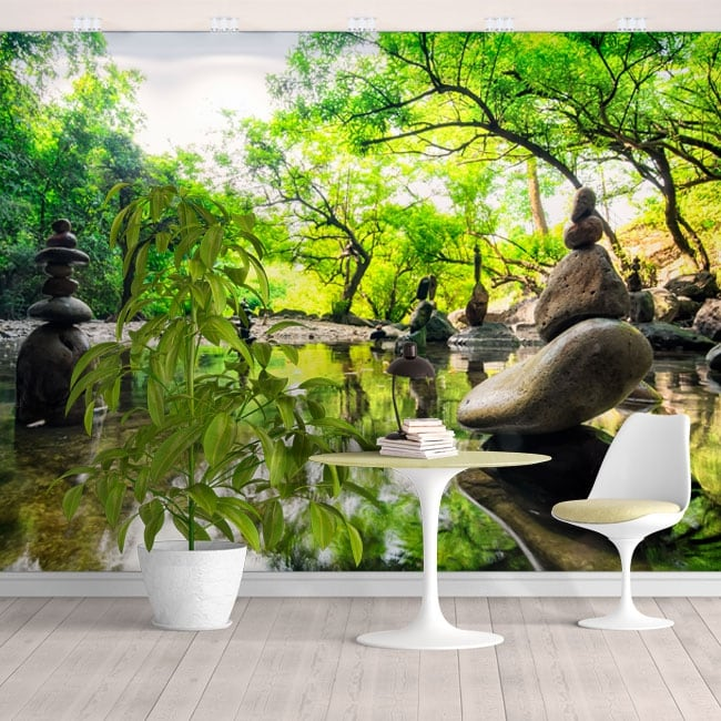 Fotomurales de vinilos paisaje piedras meditación zen