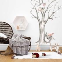 Vinilos de pared mapache y koalas en el árbol