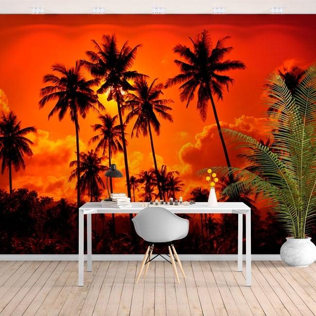 Fotomurales de vinilos palmeras y atardecer en la playa
