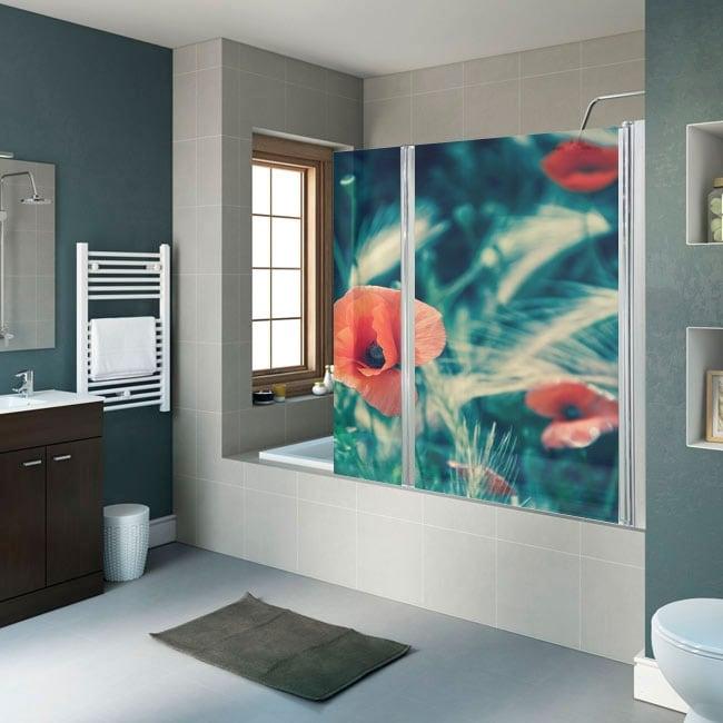 Vinilos para mamparas de baños flores amapolas