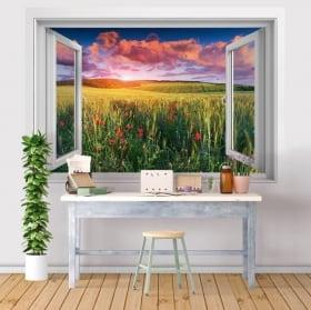 Vinilos ventanas 3d flores amapolas en el campo al atardecer