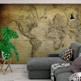 Fotomurales adhesivos mapamundi con estilo vintage