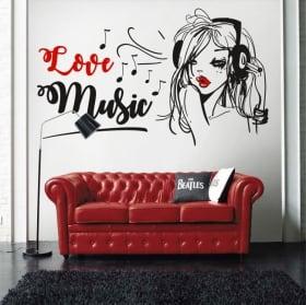 Vinilos y pegatinas silueta mujer love music