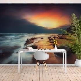 Fotomurales de vinilos amanecer en la playa
