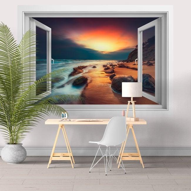 Vinilos para paredes ventana 3d amanecer en la playa