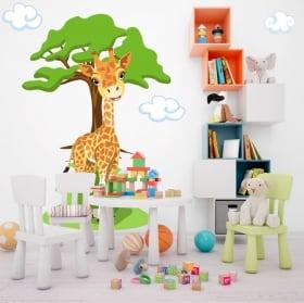 Vinilos infantiles jirafa con árbol y nubes