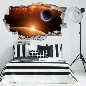 Vinilos 3d planeta tierra con la luna y el sol