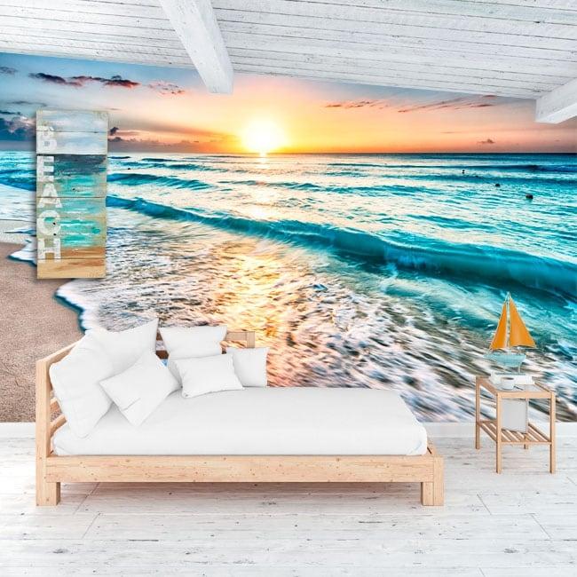 Fotomurales de vinilos atardecer en la playa