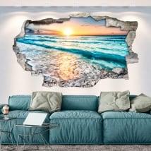 Vinilos agujero pared atardecer en la playa 3d