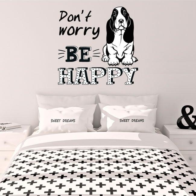 Vinilo decorativo frase inglés don't worry be happy