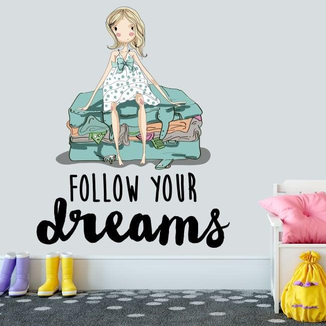 Vinilo decorativo frase inglés follow your dreams