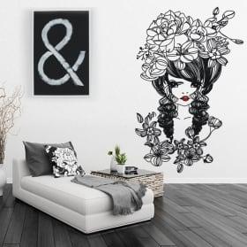 Vinilos decorativos y pegatinas silueta mujer con flores